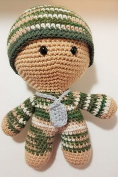 Military Big Head Baby Doll, BHBD, Crocheted in Camouflage Cotton Yarn, Stuffed with Organic Cotton by MyFingersFly on Etsy
