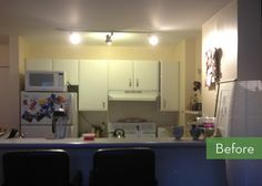 Love the hanging light pendants Before and After: A Tiny Kitchen Gets a Drastic Makeover » Curbly | DIY Design Community
