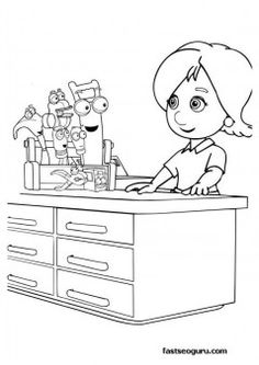 printable coloring page handy manny for kids disney charactersfargelegge tegninger activities