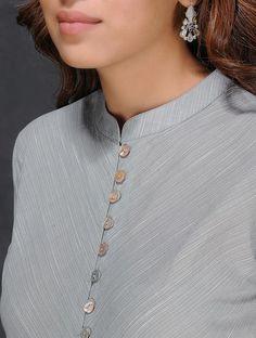 Grey-Ivory Handloom Cotton Kurta by Jaypore Neck Designs For Suits, Neckline Designs, Dress Neck Designs, Blouse Designs, Kurti Sleeves Design, Kurta Neck Design, Churidar Neck Designs, Salwar Designs, Kurtha Designs