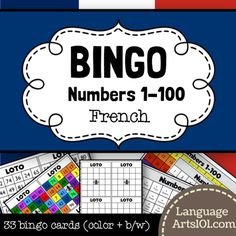 Bingo French  Numbers 1-100