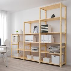 Check out IVAR 3 section shelving unit, pine. Since IVAR storage system is so good at what it does, it has faithfully served customers' needs across the home for over 50 years. Attics, living rooms, pantries and bedrooms – they all love IVAR. Ikea Kallax Shelf Unit, Ikea Wall Shelves, Room Divider Shelves, Shop Shelving, Shelving Systems, Decoration Ikea, Standing Shelves, Kiefer, Plank
