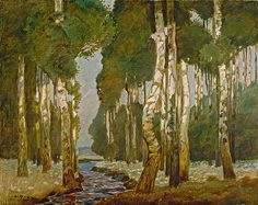 Ludwig Dill (German, 1848-1940). Birkenwald (The Birch Grove), ca. 1900. Oil on canvas. 28 1/2 x 36 1/8 in. Charles and Emma Frye Collection, 1952.037