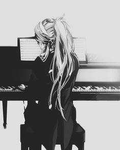 Anime art beautiful piano picture