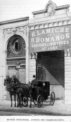 Location de chevaux et de voitures de luxe à la fin du XIX° siècle. La fin du XIX° siècle et le début du XX° ont été marqués par les débuts du remplacement de la traction animale par l'automobile. (Voir l'excellent article de Jean Louis Libourel: Carrosserie...
