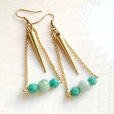 Mint and Turquoise Matte Gold Spike Earrings  FREE by chastina, $16.00