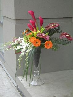 Anthiriums, gingers, cymbidiums, Singapore orchids, gerberas, asiatic lilies