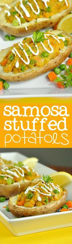Fluffy, flavorful sweet potato samosa filling stuffed into crispy baked potato skins and garnished with parsley, lemon, and greek yogurt. You're gonna love these sassy spuds!