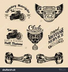 Vector set of vintage bikers logo. Retro hand sketched logotypes collection with chopper bike elements. Custom motorcycle logo.