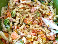 Ranch Pasta Salad:   You can easily adapt the vegetables in this recipe to clean our your fridge.  I also think turkey, salami or chicken would be a great substitution for the ham.