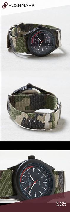 Camp watch camo 100% Alloy Case; 100% Nylon Band • Soft webbed nylon strap  • Bold straps  • Round face  • Large numerals  • Hour, minute and second hands Accessories Watches