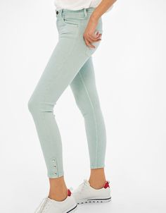 Five-pocket cropped trousers with hook and eye fasteners on the hem - Trousers - Bershka Greece