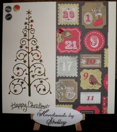 Craftwork Cards Festive Chalkboard collection. Snowflake Christmas Tree die by Memory Box. Greeting by Craft Creations.