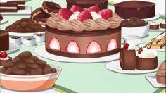 Chocolate Cake with Strawberries & Cream! Real Food Recipes, Cake Recipes, Yummy Food, Chocolate Deserts, Chocolate Cake, Anime Cake, Anime Bento, True Food, Strawberry Cakes