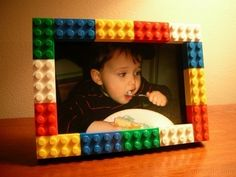 Instead of making the whole frame from legos, get a dollar store frame and glue the legos to the front.  Saves time, money and legos