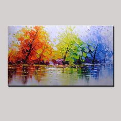 Hand-Painted Color Tree Abstract Landscape Modern Oil Painting On Canvas One Panel Ready To Hang - AUD $ 142.97