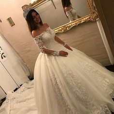 Luxury Wedding Dresses Lace Long Sleeves Princess Wedding Gowns Cheap … – Rebel Without Applause Luxury Wedding Dress, Long Wedding Dresses, Princess Wedding Dresses, Tulle Wedding, Cheap Wedding Dress, Bridal Dresses, Wedding Gowns, Backless Wedding, Prom Dresses