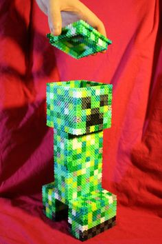 This is such a cute 3D creeper made from perler beads!<3