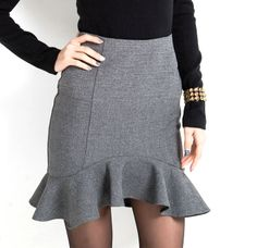 Ladylike Irregular Over Hip Ruffles Gray Skirt For Women (GRAY,S) | Sammydress.com