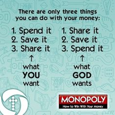 What YOU want to do with your money vs. what GOD wants us to do with His money.
