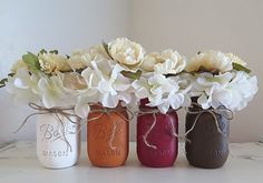 Fall Mason Jars, Fall Centerpieces, Autumn Home Decor, Distressed Mason Jars, Mason Jar Decor, Fall Wedding, Thanksgiving Centerpieces by MyHeartByHand on Etsy