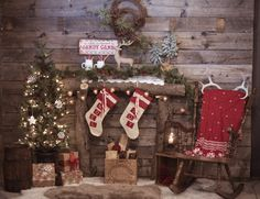 Cozy fireplace setup for family photos in the barn.   Photo by Janellabelle Photo