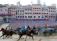 Il Palio Bareback Horse Race, Siena, Italy