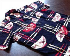 Hawaiian shirt by Alfred Shaheen - Chop Sticks and Rice Bowl - mid 1950's - shot on IPad