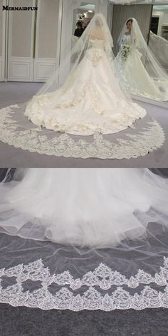 2018 Real Photos High Quality 2 Tiers Blusher Cover Face Cathedral Shining Sequined Lace Wedding Veil with Comb New Bridal Veil