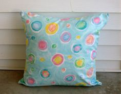 Multi Colored Circles With Blue Background by lovelylovedesigns, $25.00