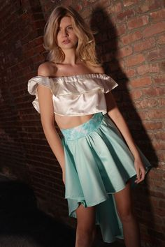 Satin and silk two piece hilow circle skirt with pelon 910 waist belt and off shoulder crop top. Measurements 32 to 35 A/B and waist Off Shoulder Crop Top, Skater Skirt, My Design, Satin, Crop Tops, Silk, Clothes For Women, Skirts, Fashion