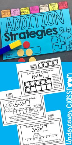 Teach seven basic strategies for basic addition with this tab book. Teach seven basic strategies for 4th Grade Math Worksheets, Kindergarten Math Games, 1st Grade Math, Math Resources, Teaching Math, Subtraction Kindergarten, Preschool Songs, Music Activities, Fourth Grade