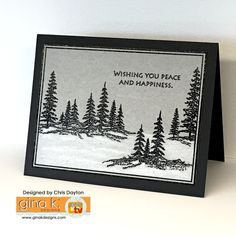Framescape- Winter Trees - Gina K Designs. Illustrated by Theresa Momber Christmas Holidays, Christmas Cards, Stamp Tv, Thing 1, Paper Trail, Card Making Techniques, Winter Trees, Diy Cards, Homemade Cards