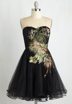 Perfect Poise Dress in Peacock. Caminita down the dance floor with perfect poise, just like the graceful peacock embellished on your black party dress by Chi Chi London! #black #prom #modcloth