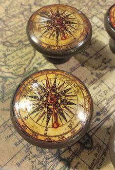 "Handmade Compass Birch Knob Drawer Pulls, Set of 6 Old World Nautical 1.5"" Knobs"