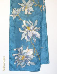 Hand painted silk scarf Magnolias gray blue scarf Floral