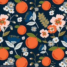 ☀️   A virtual dose of vitamin C comes with this lovely citrus and floral pattern by @teresa.chan.rogol. ☀️