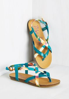 Everyday Nonchalance Sandal in Tropical. Even your mellow attitude cant hold back your glee over these colorful sandals by Blowfish! Stylish Sandals, Cute Sandals, Cute Shoes, Me Too Shoes, Shoes Sandals, Flat Sandals, Sock Shoes, Clothing Items, Shoe Collection