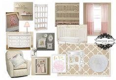 Pale pink, khaki and white nursery.  A nursery designed for a sweet baby girl!