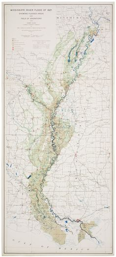"Map prepared by the US Coast and Geodetic Survey (the fore-runner of today's National Oceanic and Atmospheric Administration) in 1927, after the Great Mississippi Flood of that year.  The map shows ""flooded areas and the field of operations"".  The great devastation produced by the 1927 flood -- it flooded an area approximately equal to the entire area of New England, displacing nearly a million people --  prompted Congress to pass the 1928 Flood Control Act, which authorized the Army Corps o..."