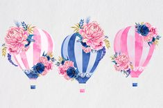 Watercolor Flowers ClipArt Hot Air Balloon Peony от froufroucraft