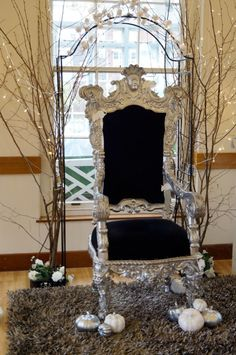 Cinderella party throne... Yes It would be nice to have a special chair. The whole picture is very whimsical.