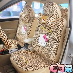 18 PCs Hello Kitty Universal Yellow Leopard Print Car Seat Covers Mirror Cover