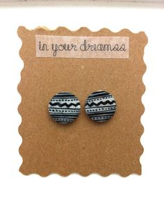 Black & White Aztec Print Post Earrings: Could diy by using white circular posts and  drawing on w/ sharpy!! :D