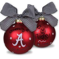 University of Alabama Ornament Painted Christmas Ornaments, Personalized Christmas Ornaments, How To Make Ornaments, Decorating Ornaments, Christmas Crafts, Christmas Stuff, Christmas 2016, Christmas Bulbs, Merry Christmas