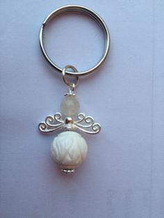 Koi Carp carved white shell & rock quartz gemstone bag charm / key ring  by JanZ DesignZ
