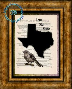TEXAS State Black Silhouette, State Bird, Lone Star State Art - Vintage Dictionary Page Art Print Upcycled Page Print by CocoPuffsArt on Etsy