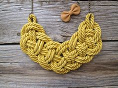 Mustard yellow Rope necklace Nautical rope knot by NasuKka on Etsy, $34.00