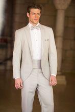 De casamento do noivo cavalheiro ternos bege claro vestidos de casamento considerável por homens de calças de cintura 2015 moda(China (Mainland))