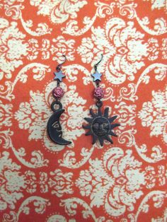 Night and Day OOAK Sun and Crescent Moon Beaded Dangle Earrings with Hematite Star and Rose Beads by DeadPoetAccessories on Etsy